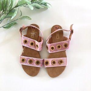 YOKI New Blush Pink Velvet Sandal with Gold Detail